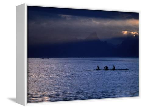 Vaa (Outrigger Canoe) Travelling, French Polynesia-Peter Hendrie-Framed Canvas Print