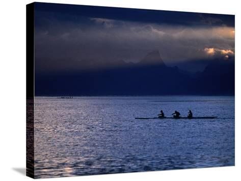 Vaa (Outrigger Canoe) Travelling, French Polynesia-Peter Hendrie-Stretched Canvas Print