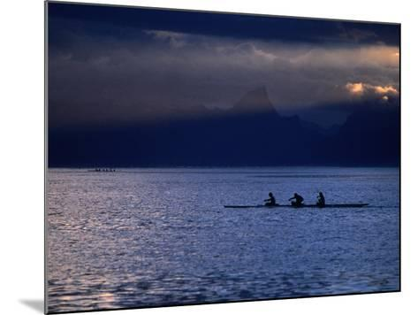 Vaa (Outrigger Canoe) Travelling, French Polynesia-Peter Hendrie-Mounted Photographic Print