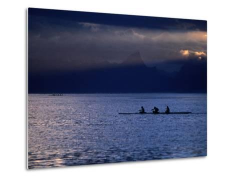 Vaa (Outrigger Canoe) Travelling, French Polynesia-Peter Hendrie-Metal Print
