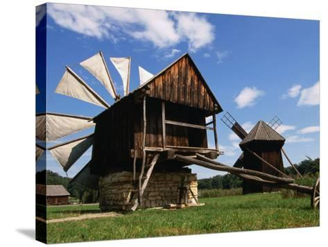 Windmill from Constanta County at Museum of Folk Civilisation in Astra, Sibiu, Romania,-Diana Mayfield-Stretched Canvas Print