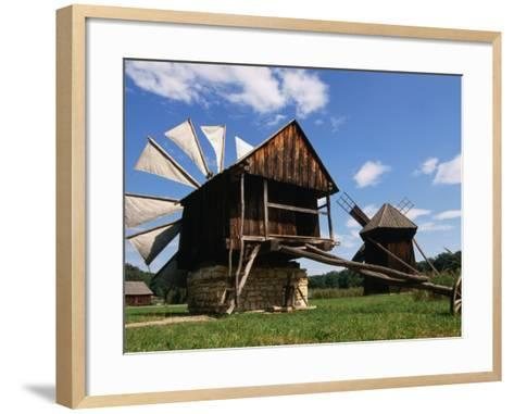 Windmill from Constanta County at Museum of Folk Civilisation in Astra, Sibiu, Romania,-Diana Mayfield-Framed Art Print