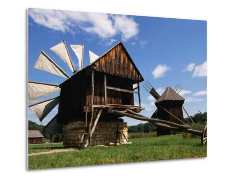 Windmill from Constanta County at Museum of Folk Civilisation in Astra, Sibiu, Romania,-Diana Mayfield-Metal Print