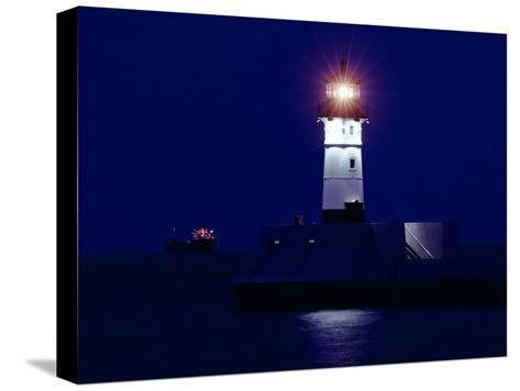 Lake Superior Lighthouse at Night--Stretched Canvas Print