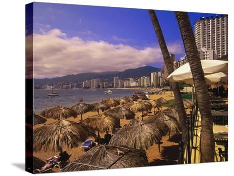 Beachfront Playa Icacos, Acapulco, Mexico-Walter Bibikow-Stretched Canvas Print