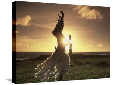 Polynesian Dancer, Ahu Tahai, Easter Island-Angelo Cavalli-Stretched Canvas Print