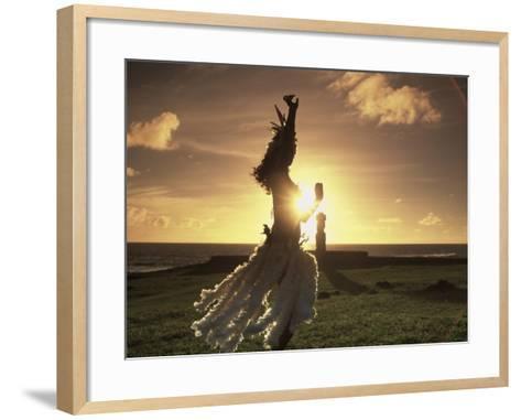 Polynesian Dancer, Ahu Tahai, Easter Island-Angelo Cavalli-Framed Art Print