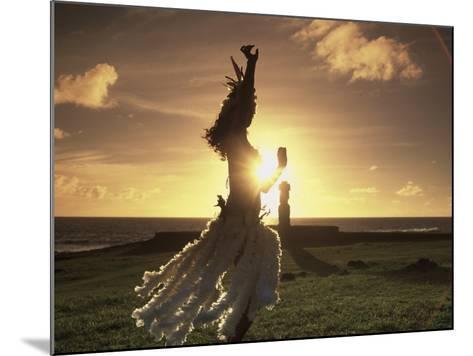 Polynesian Dancer, Ahu Tahai, Easter Island-Angelo Cavalli-Mounted Photographic Print