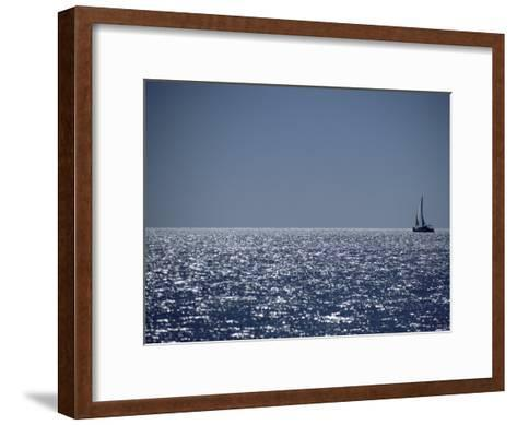 A Lone Sailboat on the Horizon in Shark Bay-Jason Edwards-Framed Art Print
