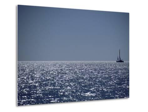 A Lone Sailboat on the Horizon in Shark Bay-Jason Edwards-Metal Print