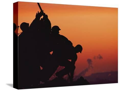 Silhouetted View of the Iwo Jima Memorial at Twilight-Anthony Peritore-Stretched Canvas Print