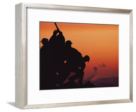 Silhouetted View of the Iwo Jima Memorial at Twilight-Anthony Peritore-Framed Art Print