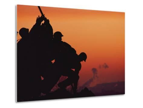 Silhouetted View of the Iwo Jima Memorial at Twilight-Anthony Peritore-Metal Print