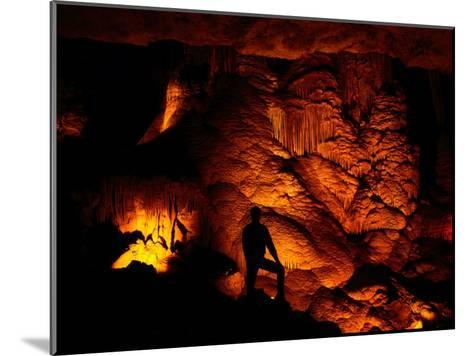 Person Silhouetted against the Limestone Formations of the Pipe Organ-Raymond Gehman-Mounted Photographic Print