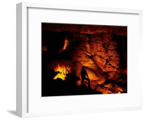 Person Silhouetted against the Limestone Formations of the Pipe Organ-Raymond Gehman-Framed Art Print