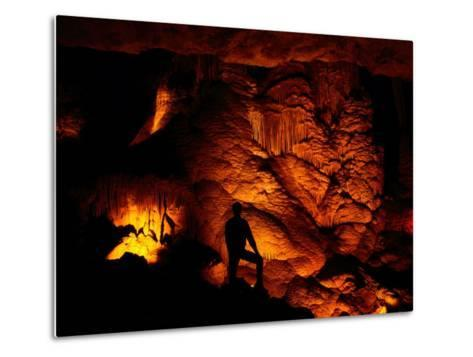Person Silhouetted against the Limestone Formations of the Pipe Organ-Raymond Gehman-Metal Print