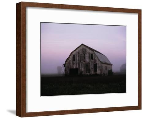 Pink Dawn Mist Around a Weather-Beaten Barn-Stephen St^ John-Framed Art Print