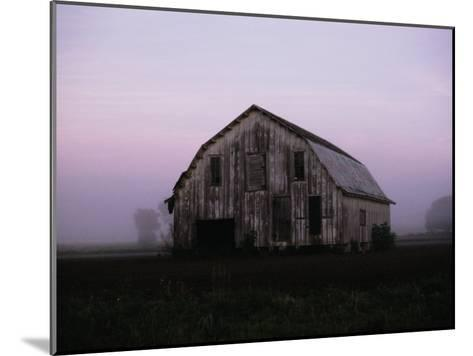 Pink Dawn Mist Around a Weather-Beaten Barn-Stephen St^ John-Mounted Photographic Print