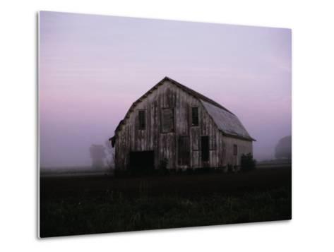 Pink Dawn Mist Around a Weather-Beaten Barn-Stephen St^ John-Metal Print