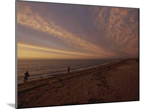 Fishermen Fishing in the Surf at Sunset-Todd Gipstein-Mounted Photographic Print