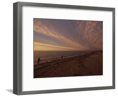 Fishermen Fishing in the Surf at Sunset-Todd Gipstein-Framed Art Print