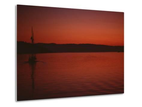 A Beautiful Red Twilight Settles over the Olympic Peninsula-Sam Abell-Metal Print