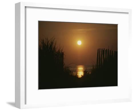 Sunrise over the Ocean Silhouettes Dunes and Erosion Fences-Stephen St^ John-Framed Art Print
