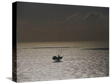 Oil Rig at Sunset-Jason Edwards-Stretched Canvas Print