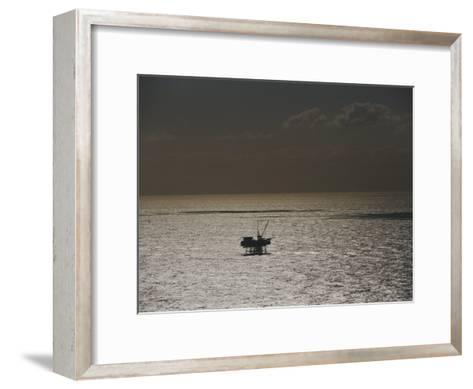 Oil Rig at Sunset-Jason Edwards-Framed Art Print