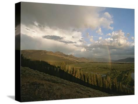 Clouds and Rainbow over Thoroughfare and Southeast Arm of Yellowstone Lake-Tom Murphy-Stretched Canvas Print