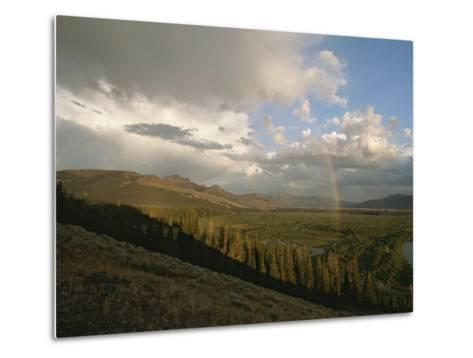 Clouds and Rainbow over Thoroughfare and Southeast Arm of Yellowstone Lake-Tom Murphy-Metal Print