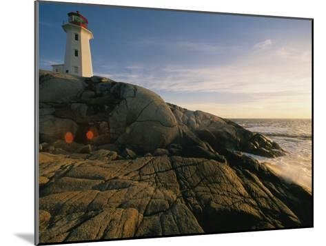 A Twilight View of the Peggys Cove Lighthouse Atop Smooth Rock-Michael S^ Lewis-Mounted Photographic Print