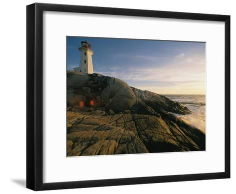 A Twilight View of the Peggys Cove Lighthouse Atop Smooth Rock-Michael S^ Lewis-Framed Art Print