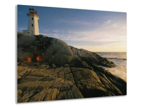 A Twilight View of the Peggys Cove Lighthouse Atop Smooth Rock-Michael S^ Lewis-Metal Print