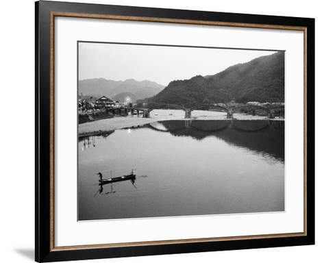 Fishermen and Historic Bridge, Iwakuni, Japan-Walter Bibikow-Framed Art Print