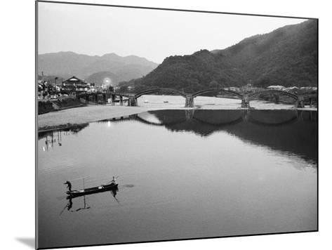 Fishermen and Historic Bridge, Iwakuni, Japan-Walter Bibikow-Mounted Photographic Print