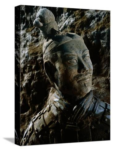 Close View of the Head of One of the Terra-Cotta Warriors-O^ Louis Mazzatenta-Stretched Canvas Print