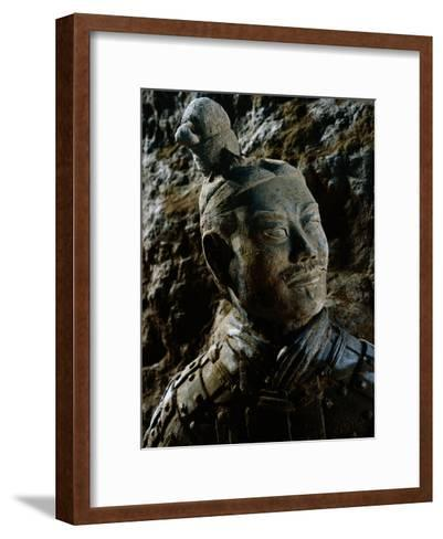Close View of the Head of One of the Terra-Cotta Warriors-O^ Louis Mazzatenta-Framed Art Print