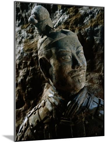 Close View of the Head of One of the Terra-Cotta Warriors-O^ Louis Mazzatenta-Mounted Photographic Print