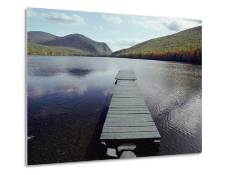 A Scenic View of a Dock on a Lake-Bill Curtsinger-Metal Print