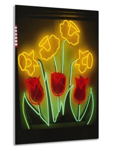 Neon Tulips and Irises Brighten up a Display Window-Stephen St^ John-Metal Print