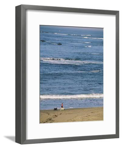 A Woman and Two Dogs Walk Along the Shorline-Roy Toft-Framed Art Print