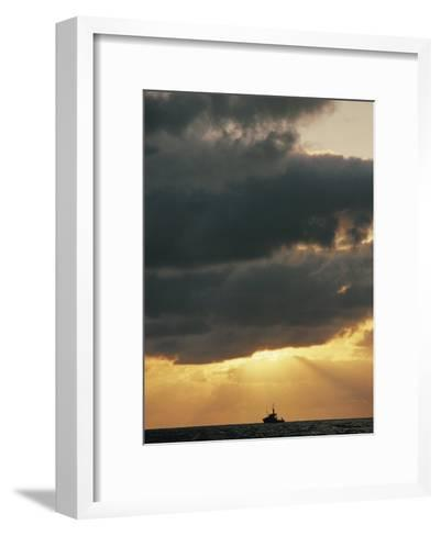The Sun Shines Through the Clouds over the Atlantic Ocean-Emory Kristof-Framed Art Print