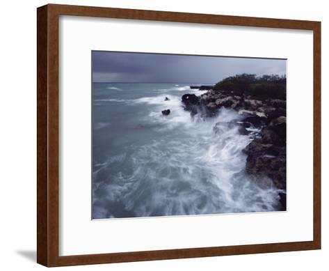Surf Lashes a Rocky Shore-James L^ Stanfield-Framed Art Print