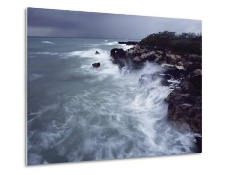 Surf Lashes a Rocky Shore-James L^ Stanfield-Metal Print
