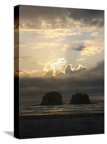 A Distant View of Twin Rocks at Twilight-Phil Schermeister-Stretched Canvas Print