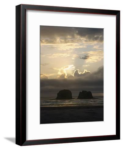 A Distant View of Twin Rocks at Twilight-Phil Schermeister-Framed Art Print