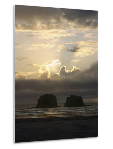 A Distant View of Twin Rocks at Twilight-Phil Schermeister-Metal Print