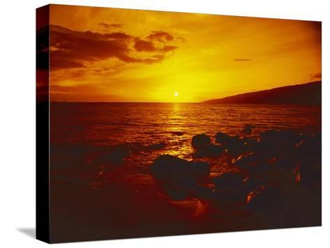 Sunset over the Ocean as Seen from a Maui Beach-Todd Gipstein-Stretched Canvas Print