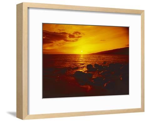 Sunset over the Ocean as Seen from a Maui Beach-Todd Gipstein-Framed Art Print